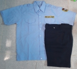 Bộ bảo vệ áo có bo chất kate siêu màu xanh tay ngắn, quần cashmere xanh đen