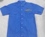 Áo bảo vệ có bo vải kate siêu xanh đậm tay ngắn