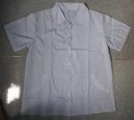 Áo tạp vụ có sẵn trắng xọc xanh