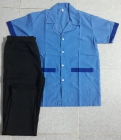 Bộ tạp vu áo xanh phối xanh quần thun đen may sẵn