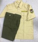 Bộ bảo vệ áo vàng kem vải kate siêu, quần xanh rêu vải kaki Thành Công loại 1