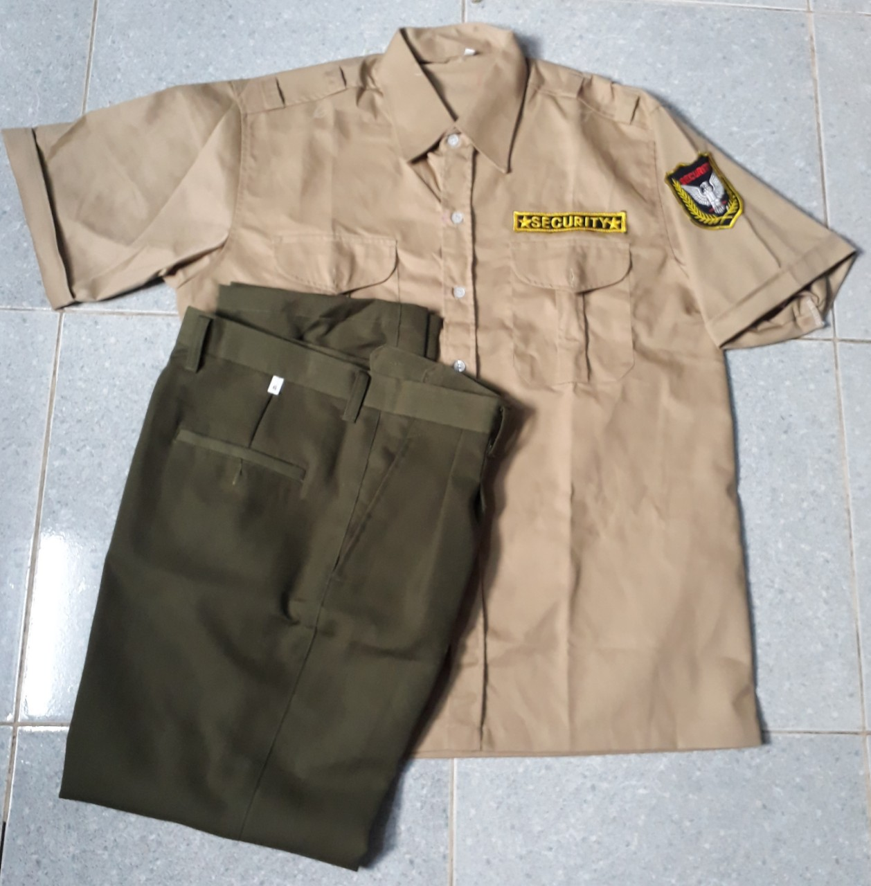 Bộ bảo vệ áo màu cafe sữa kaki 65/35, quần xanh rêu kaki Thành Công loại 1